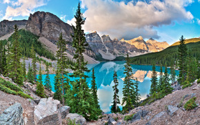 Moraine Lake, Banff National Park, lake, Mountains, landscape