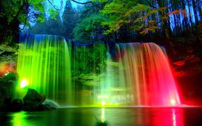 речка, водопад, фонари, подсветка, деревья, природа