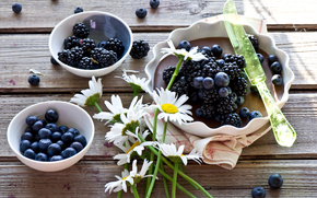 пирог, ягоды, ежевика, голубика, ромашки, цветы, нож