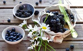 pie, BERRY, blackberry, blueberry, Chamomile, Flowers, knife