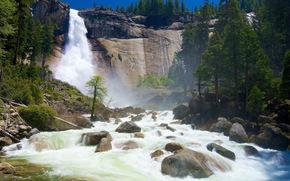 cielo, Montagne, Rocce, pietre, alberi, rompere, cascata, fiume, FLOW