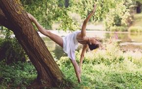 chica, bailarina, plantear, humor, árbol, naturaleza