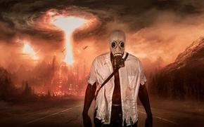 Apocalypse, explosion, muzhik, mask, road