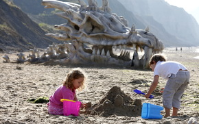 children, sand, skull, dragon, dinosaur, beach, sea, Mountains