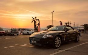estacionamento, p?r do sol, Carro esportivo, Jaguar