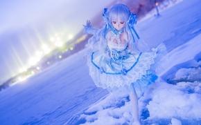 кукла, игрушка, настроение, зима, снег