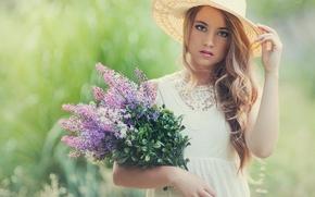 Noemi Hopper, menina, boné, Flores, buquê, humor
