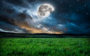luna, cielo, Stella, nuvole, campo, erba, terra, spazio, paesaggio