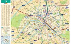 map, plan, scheme, metro, transportation, city, Paris, France