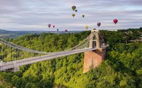 Clifton Suspension Bridge, Avon Gorge, Clifton, Bristol, england, Clifton Suspension Bridge, Eyvonskoe Gorge, Clifton, Bristol, England, bridge, Balloons, panorama