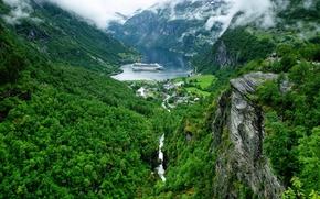 Geiranger, Geirangerfjord, norway, Geiranger, Geirangerfjord, Norway, fjord, Mountains, village, Liner, panorama