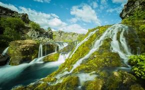 Gjáin, Iceland, Исландия, водопады, каскад, река, камни, мох