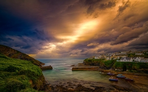 Port Isaac, Celtic Sea, Cornwall, england, Port Isaac, Celtic Sea, Cornwall, England, sea, bay, coast, village, ships, CLOUDS