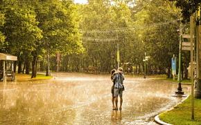 дождь, девушка, мужчина, любовь, поцелуй, романтика, лето, город