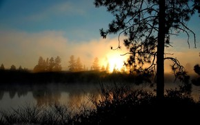 природа, небо, солнце, озеро