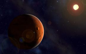 Марс, солнце, космос, звезды, красота