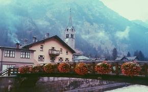 Gressoney-Saint-Jean, Dolina Aosty, Włochy, Gressoney-Saint-Jean, Dolina Aosty, Włochy, most, Kwiaty, budynek