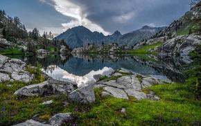 Parco Nazionale del Mercantour, Francia, Alpi, Parco Nazionale del Mercantour, Francia, Alpi, lago, Montagne, riflessione