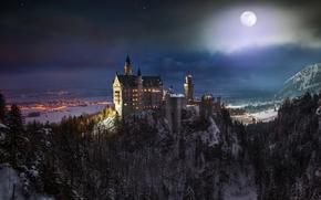 Замок, Нойшванштайн, Германии, Бавария, ночь, луна