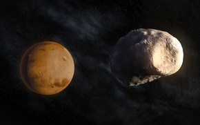 Планета, Марс, спутник, Фобос, космос, звезды, красота