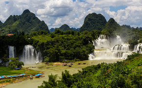 waterfall, Ban gioc-detian falls, forest, river, sky, obloka, Beauty Vietnam, China, landscape, nature