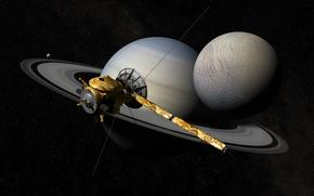 Кассини-Гюйгенс, автоматический, космический, аппарат, планета, Cатурн, спутник, кольца, космос, звезды