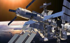 МКС, Земля, Солнце, орбита, станция, наука, техника, космос