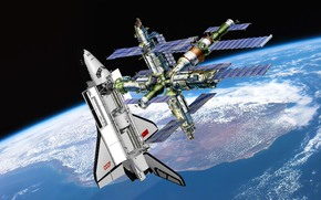 Em órbita, estação, mundo, nevasca, URSS, terra, planeta, ciência, equipamento, espaço