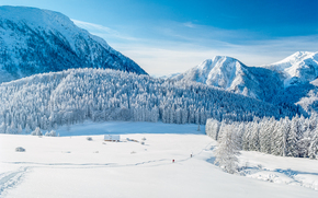 winter, Mountains, trees, cabin, landscape