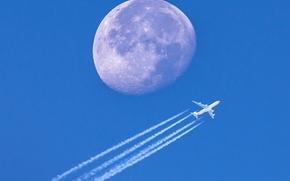 samolot, księżyc, planeta, niebo