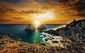 Pernambuco, Brazil, Fernando de Noronha, Atlantic Ocean, Twin Brothers, Фернанду-ди-Норонья, Пернамбуку, Бразилия, Атлантический океан, скалы, побережье, закат, океан
