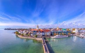 Friedrichshafen, Baden-Württemberg, Germania, Lago di Costanza, Friedrichshafen, Baden-Wuerttemberg, Germania, Lago di Costanza, lago, ponte, motonave, terrapieno, costruzione