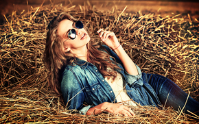 model, jeans, style, glasses, hay, mood
