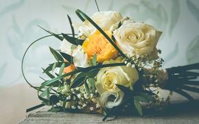 свадебный букет, букет, розы