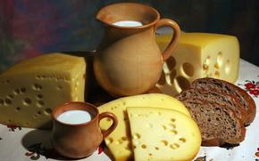 Кувшин, ломти, аппетитно, кружка, молоко, хлеб, стол, еда