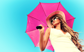 girl, model, hat, glasses, umbrella, hair, curls, style, summer, background