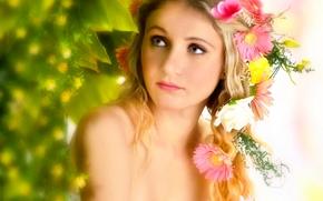 Olena Khudyakova, модель, портрет, венок, цветы, герберы