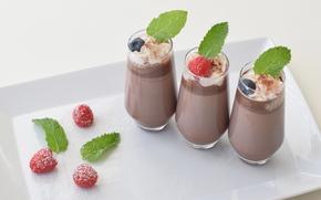 шоколад, ягоды, малина, стаканы