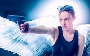girl, angel, wings, gun, weapon, glasses, mood