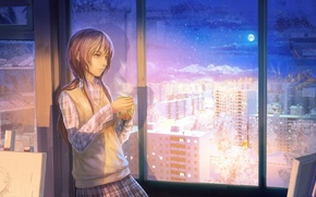 tea, girl, city, window, winter, mug, snow, room, apartment, interior, cup, cabinet, moon, night