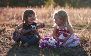 дети, мальчик, девочка, гитара, настроение
