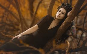 girl, Black Dress, wreath, tattoo, mood, trees