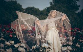 невеста, свадебное платье, фата, настроение, цветы, пионы