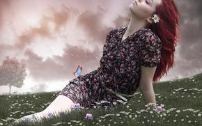 девушка, настроение, луг, цветы, ромашки, бабочка