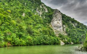 Face Decebalus, Dacian king, river, Danube, Orsova, Romania