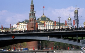 ussr, Moscow, 1986, Kremlin, river, bridge, street, machinery, city