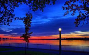 Fiume Ottawa, tramonto, fiume, lanterna, rami di alberi, paesaggio