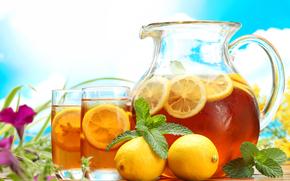 pitcher, carafe, table, glasses, cold, tea, drink, lemons, mint, Flowers, sky