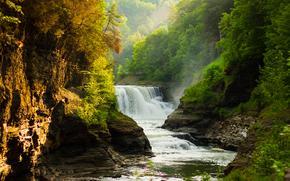 cascata, fiume, Rocce, alberi, paesaggio