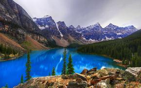 Lago Moraine, Parco Nazionale di Banff, lago, Montagne, paesaggio